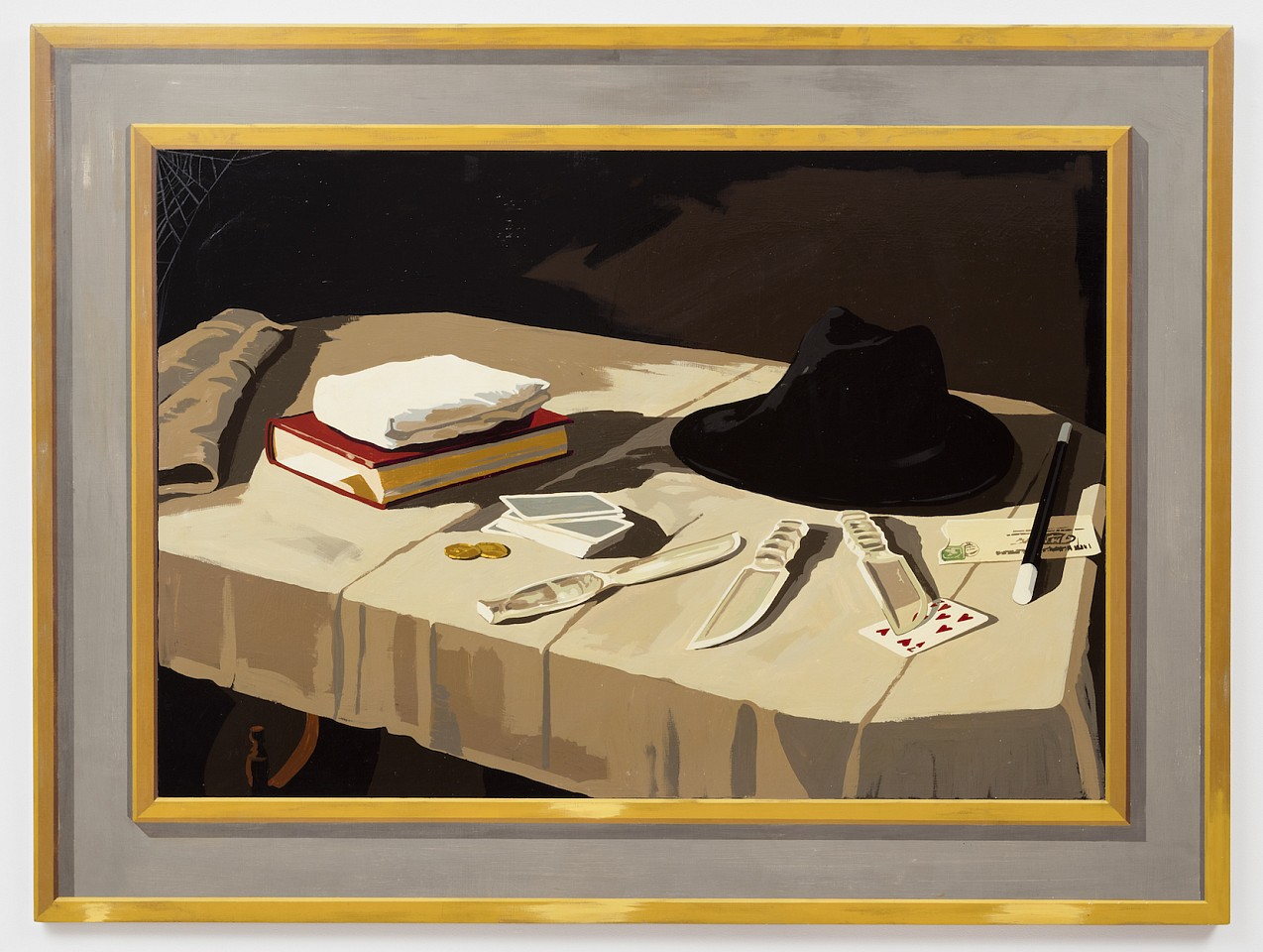 Matthew Benedict ,   The Black Borsalino  ,  2001     gouache and Damar on wood     36 x 48 in/91.5 x 122 cm     MATB-01-PA-078/R