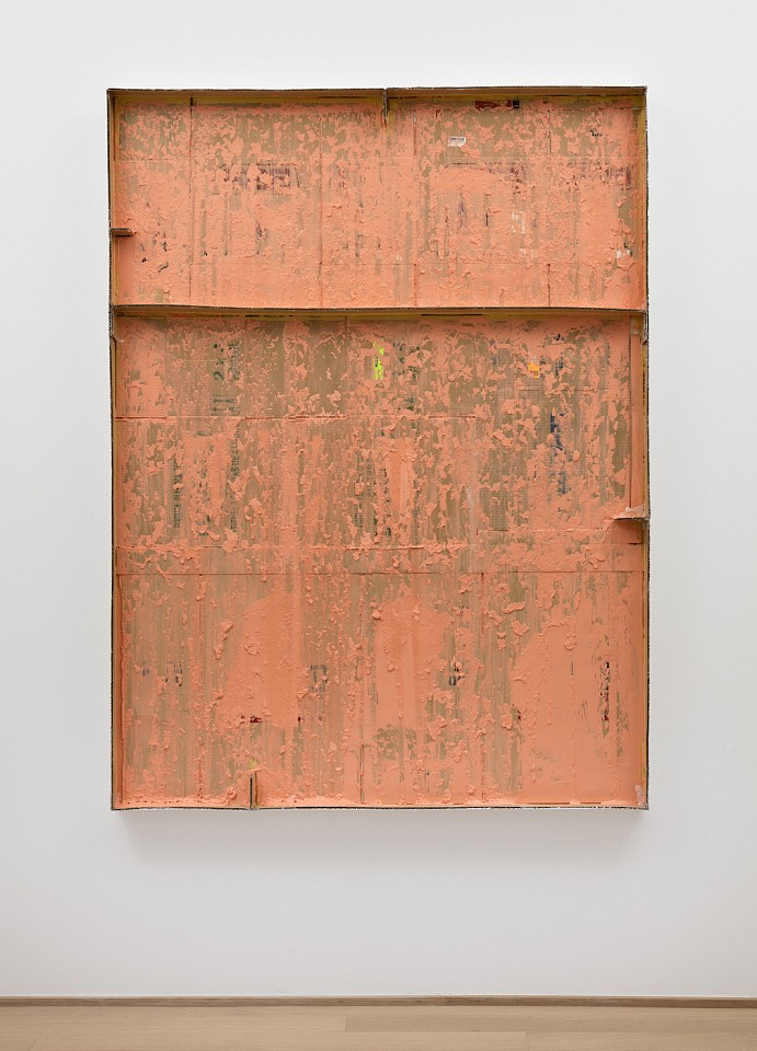 Carlos Bunga ,   Construcción pictórica #24w  ,  2017     latex and glue on cardboard and wood     78 3/4 x 59 x 4 in/200 x 150 x 10 cm     CB-17-PA-004