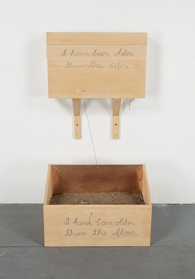 Robert Kinmont ,   I have been older than this before  ,  2015     pine, copper, dirt, wire, and thread in 2 parts     part 1: 16 x 24 x 6 in/40.6 x 61 x 15.2 cm 