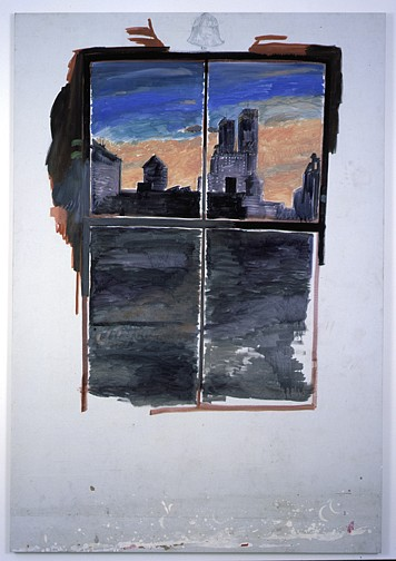 Paul Thek ,   Untitled (Cityscape)  ,  circa 1972     acrylic on canvas     95 x 65 1/2 in/241 x 166.5 cm     PAT-72-PA-123