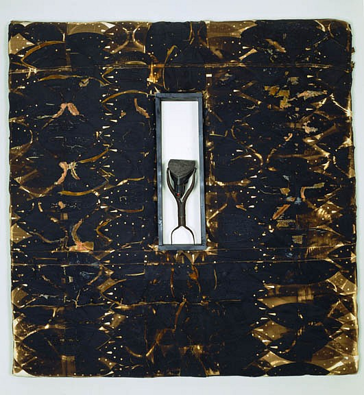 Willie Cole ,   Silex  ,  1991     steam iron, handles and scorch on canvas     60 x 60 x 8 in/ 152.4 x 152.4 x 20.3 cm     WIC-91-PA-067