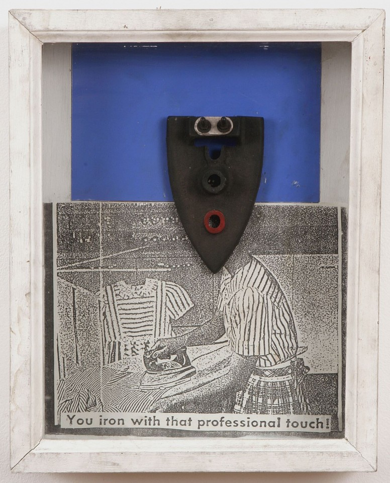 Willie Cole ,   Untitled (You iron with that professional touch!)  ,  1989     metal iron, colored and xeroxed paper in wood and glass frame     16 x 12 3/4 x 3 1/2 in/ 40.6 x 32.4 x 9 cm     WIC-89-SC-204     $7,500