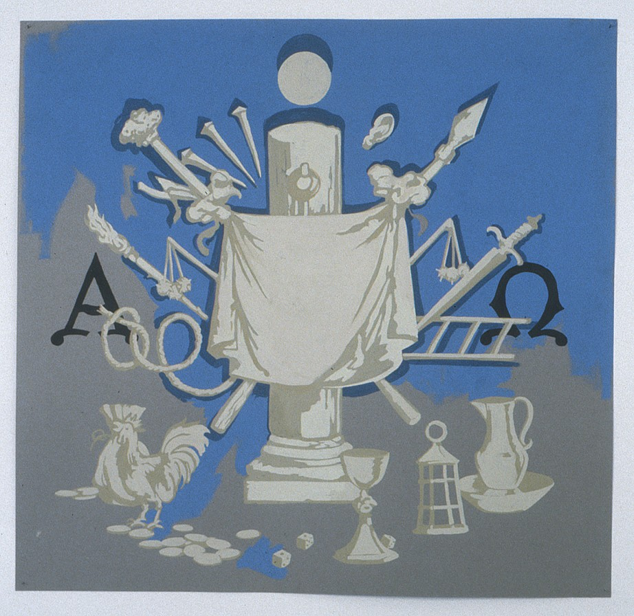 Matthew Benedict ,   The Instruments of Christ's Passion  ,  1998     gouache on paper     26 3/8 x 27½ in/67 x 70 cm     MATB-98-DR-142     $5,000