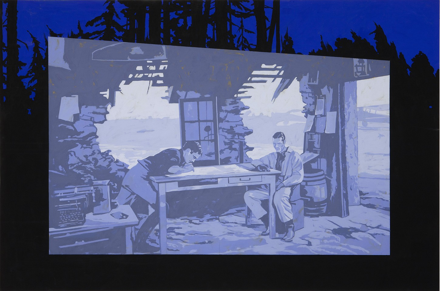 Matthew Benedict ,   Empyrean Soldiers at the Drive-in Movie  ,  2010     gouache on wood     48 x 72 in/122 x 183 cm     MATB-10-PA-172